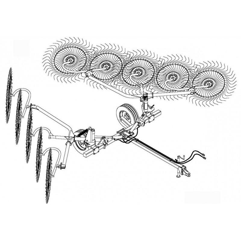"""Колесно–пальцевые грабли-ворошилки, валкообразователи серии «H 90» """"V""""-типа Sitrex Италия (шириной захвата до 8,2 м)"""
